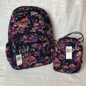 Vera Bradley Midnight Wildflower Backpack Combo